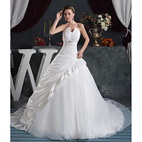 Ball Gown Wedding Dresses Strapless Court Train Organza Taffeta Strapless with Pick Up Skirt Ruched Crystals 2020