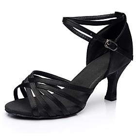 Women's Dance Shoes Latin Shoes / Ballroom Shoes / Line Dance Heel Cuban Heel Customizable Leopard / Nude / Black / Performance / Satin