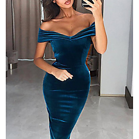 Women's The Great Gatsby Flapper Dress - Short Sleeve Solid Colored Off Shoulder Elegant 1920s Cocktail Party Going out Velvet Wine Blue Navy Blue S M L XL XXL