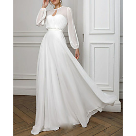 A-Line Empire White Holiday Formal Evening Dress Illusion Neck Long Sleeve Floor Length Chiffon with Pleats 2020