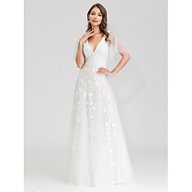 A-Line Wedding Dresses V Neck Maxi Tulle Short Sleeve Little White Dress Illusion Detail with Lace 2020