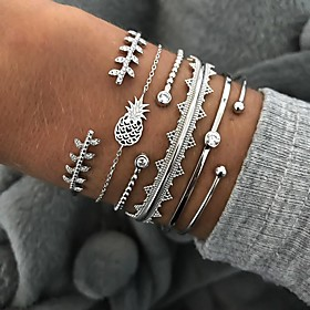 6pcs Women's Crystal Bracelet Bangles Cuff Bracelet Silver Bracelets Classic Leaf Pineapple Wave Statement Punk European Trendy Fashion Rhinestone Bracelet Jew