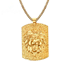 Men's Pendant Necklace Classic Lion Fashion Titanium Steel Coin-Gold 60 cm Necklace Jewelry 1pc For Daily Work