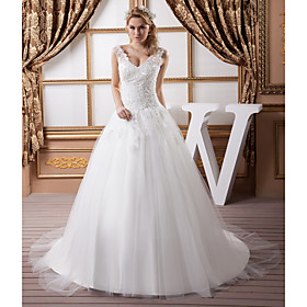 A-Line Wedding Dresses V Neck Court Train Lace Satin Tulle Spaghetti Strap with Beading Draping Appliques 2020