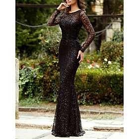 Mermaid / Trumpet Sparkle Black Engagement Formal Evening Dress Jewel Neck Long Sleeve Floor Length Tulle Sequined with Sequin 2020