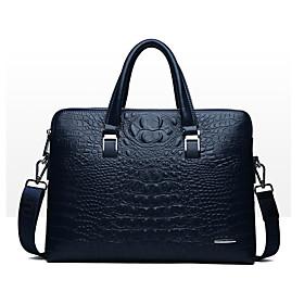 Men's Bags PU Leather Laptop Bag / Briefcase / Top Handle Bag Belt Zipper Crocodile for Date / Outdoor Black / Blue / Fall  Winter