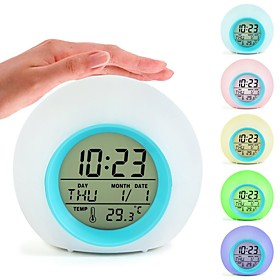 Touch Sensing Digital Alarm Clock Staycation Sunrise Sunset LED Wake Up Lights With Colorful Light Snooze Mode Nature Sound