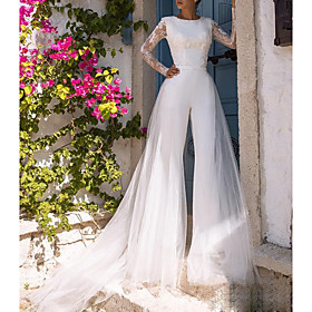 Jumpsuits Wedding Dresses Jewel Neck Court Train Lace Tulle Polyester Long Sleeve Illusion Sleeve with Appliques 2020