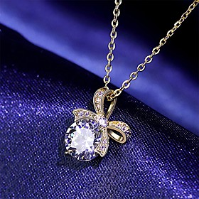 New Arrivals Silver 925 Jewelry Women Necklaces Spinel Bow Pendant Silver Jewlery Wholesale Female Party Gifts