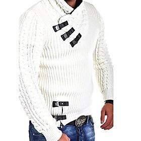 Men's Color Block Pullover Long Sleeve Sweater Cardigans Turtleneck Fall Winter White Black Light gray