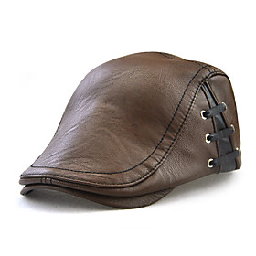 Men's Basic PU Beret Hat-Solid Colored All Seasons Black Light Brown Brown