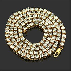Men's Chain Necklace Long Necklace Classic Precious Unique Design Fashion Zircon Gold Plated Chrome Gold Silver 50,55 cm Necklace Jewelry 1pc For Daily Street