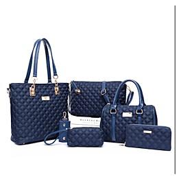 Women's Zipper PU Bag Set Bag Sets Solid Color 6 Pieces Purse Set Black / Purple / Fuchsia / Fall  Winter