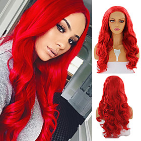 Synthetic Lace Front Wig Body Wave Free Part Lace Front Wig Long Red Synthetic Hair 18-26 inch Women's Cosplay Soft Heat Resistant Red / Natural Hairline / Nat