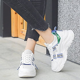 Women's Athletic Shoes Flat Heel Round Toe PU Running Shoes Winter White / Yellow / Blue
