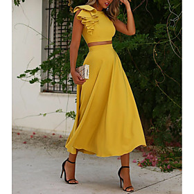Two Piece Elegant Yellow Wedding Guest Cocktail Party Dress Jewel Neck Sleeveless Ankle Length Polyester with Ruffles 2020