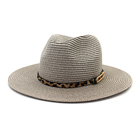 Women's Party Basic Straw Bucket Hat Straw Hat-Solid Colored All Seasons Black Light gray White