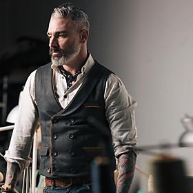 Men's Vest, Solid Colored V Neck Polyester Black