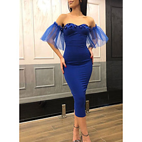 Sheath / Column Elegant Party Wear Cocktail Party Dress Off Shoulder Short Sleeve Tea Length Jersey with Crystals Sequin 2020