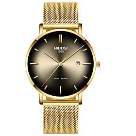 Men's Steel Band Watches Quartz Formal Style Stylish Minimalist Chronograph Analog Golden Yellow Blue / Two Years / Luminous / Two Years