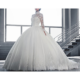 Ball Gown Wedding Dresses High Neck Court Train Tulle Long Sleeve Glamorous Vintage See-Through Backless Illusion Sleeve with Lace Insert Appliques 2020