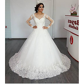 Ball Gown A-Line Wedding Dresses Jewel Neck Chapel Train Lace Tulle Long Sleeve Illusion Sleeve with Appliques 2020