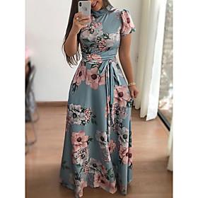Women's A-Line Dress Maxi long Dress - Short Sleeve Floral Print Print Turtleneck Elegant Hot Holiday vacation dresses Black Navy Blue Light Blue S M L XL XXL