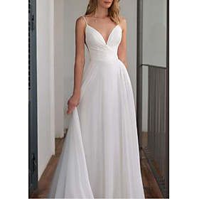 A-Line Wedding Dresses V Neck Floor Length Chiffon Spaghetti Strap with Draping 2020