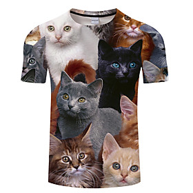 Men's 3D Graphic Print T-shirt Street chic Exaggerated Daily Holiday Round Neck Rainbow / Summer / Short Sleeve / Animal
