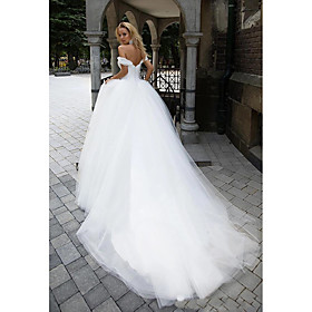Ball Gown Wedding Dresses Off Shoulder Chapel Train Tulle Short Sleeve with 2020