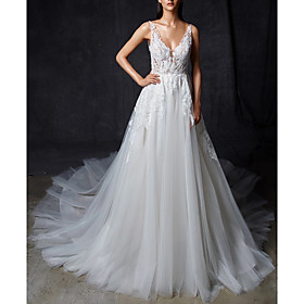 A-Line Wedding Dresses V Neck Court Train Lace Tulle Regular Straps Romantic Sexy Illusion Detail Backless with Lace Insert 2020