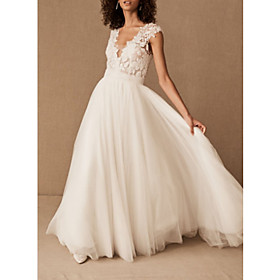 A-Line Wedding Dresses V Neck Court Train Lace Tulle Cap Sleeve with Draping 2020