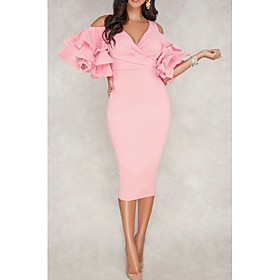 Sheath / Column Sexy Pink Cocktail Party Formal Evening Dress V Neck Half Sleeve Tea Length Polyester with Ruffles 2020
