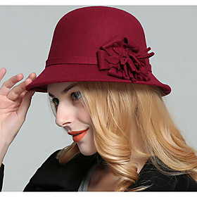 Women's Basic Polyester Bucket Hat-Solid Colored Black Wine Fuchsia
