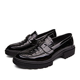 Men's Loafers  Slip-Ons Business / Classic Daily Office  Career Faux Leather Non-slipping Wear Proof Black Summer / Fall