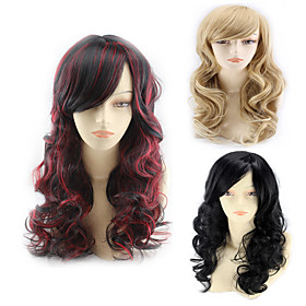 Synthetic Wig Body Wave Asymmetrical Wig Blonde Long Light Blonde Natural Black Black / Red Synthetic Hair 24 inch Women's Best Quality curling Blonde Black