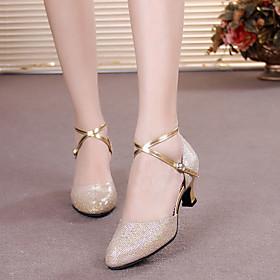 Women's Modern Shoes Heel Cuban Heel Synthetics Buckle Paillette Black / Purple / Gold / Performance / Practice