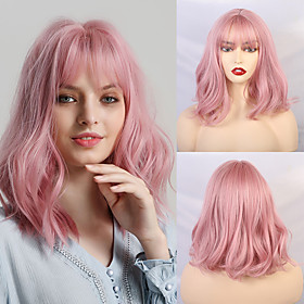 Synthetic Wig Bangs Wavy Spiral Curl Side Part Neat Bang With Bangs Wig Pink Medium Length Brown Blonde Pink Blue Purple Synthetic Hair 14 inch Women's Cosplay