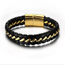 Men's Chain Bracelet Geometrical Flower Fashion Gold Plated Bracelet Jewelry Gold For Daily Work