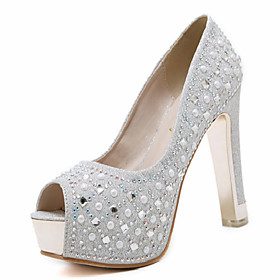 Women's Heels Glitter Crystal Sequined Jeweled Chunky Heel Round Toe / Peep Toe Rhinestone Leatherette Novelty / Club Shoes Spring / Summer Silver / Black / We