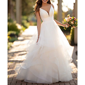 Ball Gown Wedding Dresses V Neck Court Train Tulle Charmeuse Spaghetti Strap Formal Simple Little White Dress with Appliques Cascading Ruffles 2020