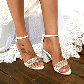 Women's Wedding Shoes Boho / Beach Chunky Heel Open Toe Basic Wedding Daily Beach Crystal Solid Colored Satin Walking Shoes Summer White / Ivory
