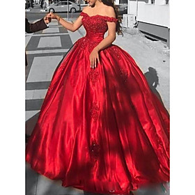 Ball Gown Luxurious Red Quinceanera Formal Evening Dress Off Shoulder Short Sleeve Chapel Train Lace Satin with Appliques 2020