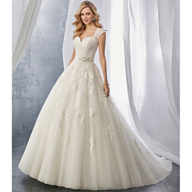 Ball Gown Wedding Dresses Sweetheart Neckline Chapel Train Lace Tulle Regular Straps with Appliques 2020