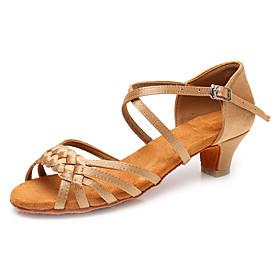 Women's Dance Shoes Latin Shoes / Ballroom Shoes / Salsa Shoes Heel Buckle Thick Heel Customizable Leopard / Dark Brown / White / Performance / Satin / Practic