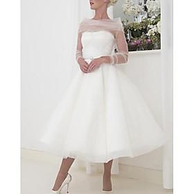 A-Line Wedding Dresses Bateau Neck Tea Length Tulle Long Sleeve Vintage Little White Dress 1950s with 2020