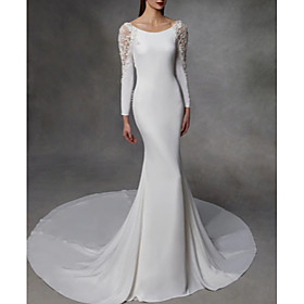 Mermaid / Trumpet Wedding Dresses Jewel Neck Court Train Stretch Satin Lace Over Satin Long Sleeve Simple Sexy Illusion Detail Backless with Lace Insert 2020