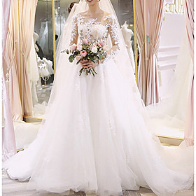 A-Line Wedding Dresses Jewel Neck Floor Length Lace Long Sleeve Illusion Sleeve with Lace Insert Appliques 2020