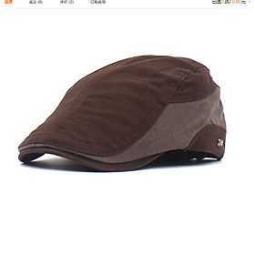 Men's Basic Polyester Beret Hat-Color Block Black Brown Green