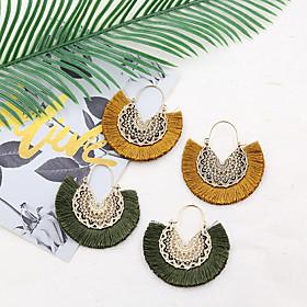 Women's Drop Earrings Hoop Earrings Earrings Tassel Flower Shape Earrings Jewelry Black / Light Yellow / Dark Fuchsia For Anniversary Gift Daily Street Bar